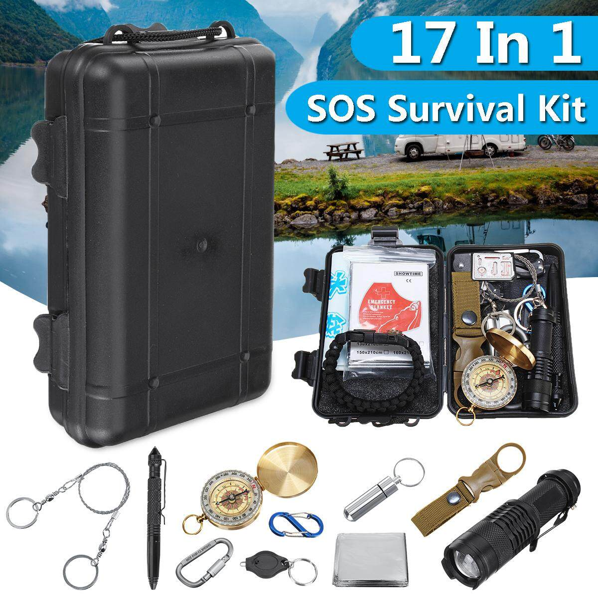 17 In 1 Sos Emergency Camping Hiking Survival Equipment Kit Gear Tactical Tool By Freebang.