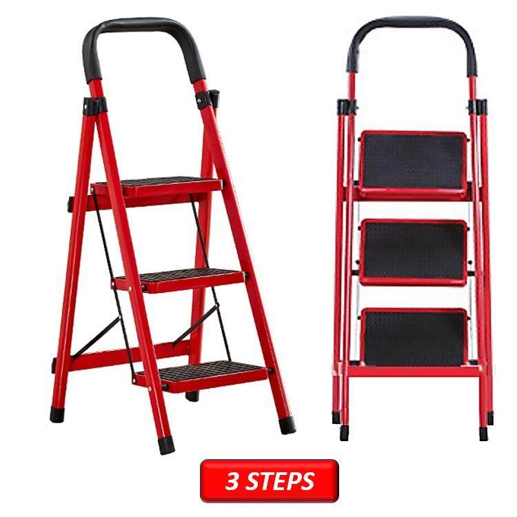 Folding 3 and 4 Tier Lightweight Steel Step Ladder with Hand Grip