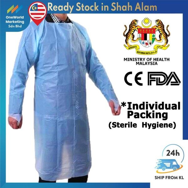 ♈☈  【Ship Today-KL】Medical CPE Gown【Individual Sterile Pack!!!】KKM Approved!!【CE】Isolation Gown - Plastic Apron - PPE Suit