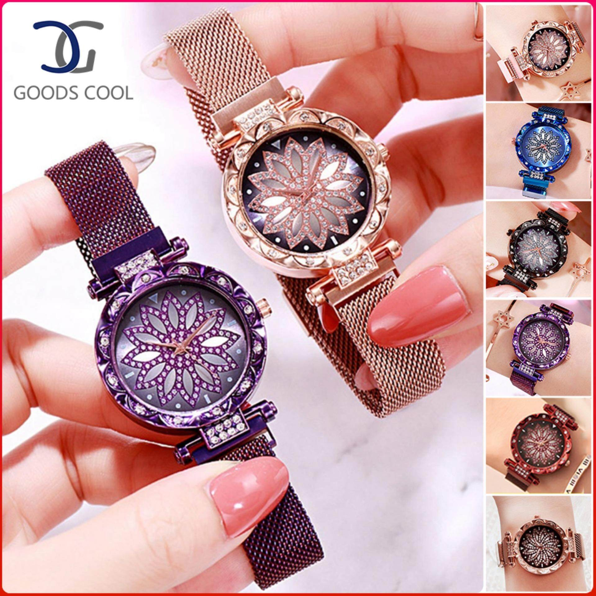 GoodScool Starry Flower Diamond Quartz Watch for Women,Fashion Casual Ladies Watch Stainless Steel Women Watch with Magnet Milan Mesh Belt&Magnet Strap Buckle Malaysia