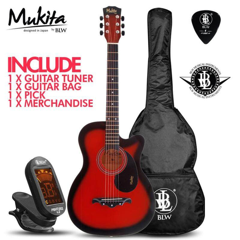 Mukita by BLW Standard Acoustic Folk Cutaway Basic Guitar Package 38 Inch for beginners with Bag, Pick, Digital Tuner and Merchandise Sticker (Red) Malaysia