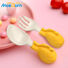 NiceBorn 2PCS Baby Spoon Fork Set Silicone PPSU Children's Tableware Fork and Spoon Sets Tasteless Non-toxic Tableware Anti-drop Kids Spoon for 6 Months Babies