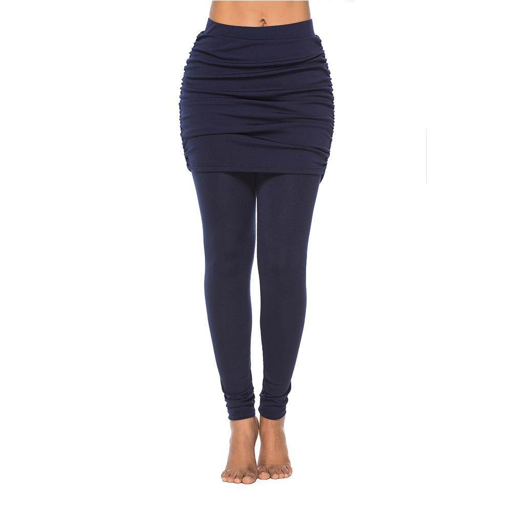 Women Skirt Pleated Skirt Fake Two Skirt Folding Hip Lifting Yoga Sport Ankle Length Leggings Trousers Pants Cause Wear By Twins Girl.