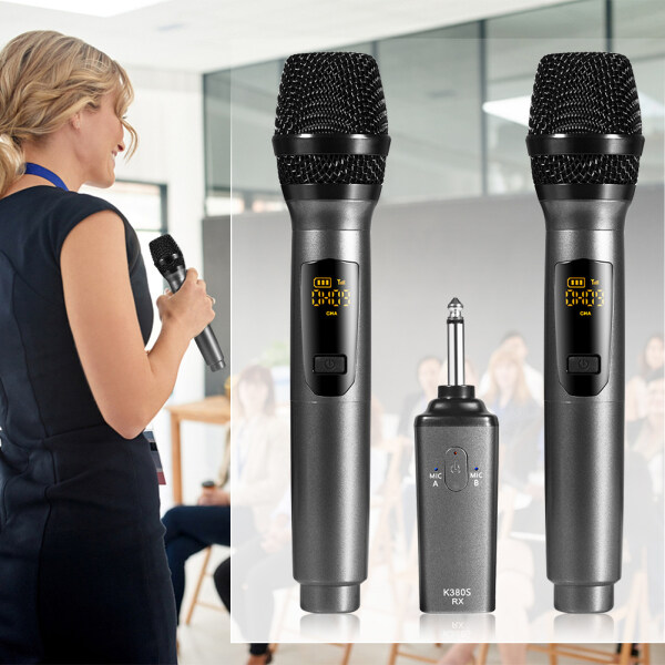 Mic 2x Rechargeable Wireless USB Microphones for Conference Hosting KTV Singapore