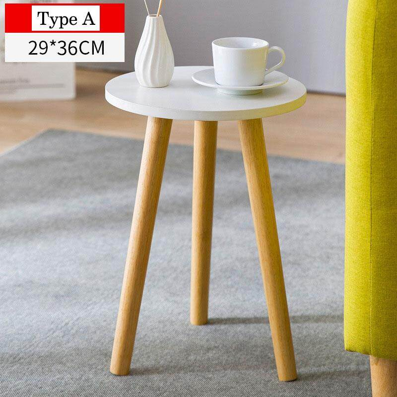wood coffee tea table space saving round bedside table brief nordic style