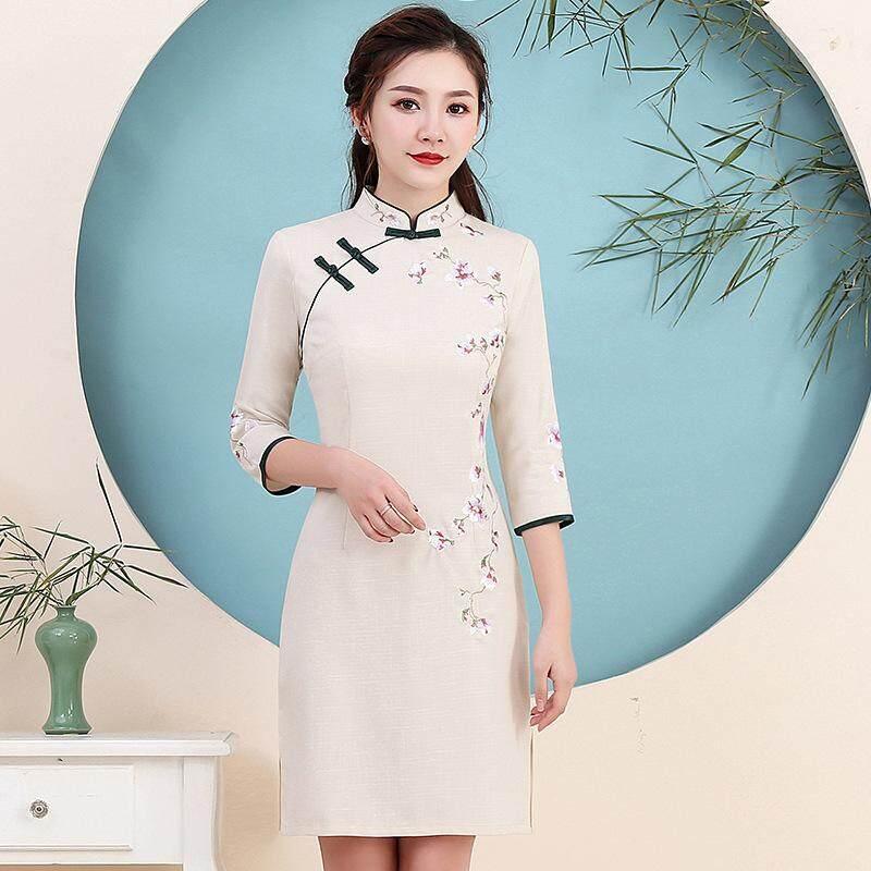 Bordir Cheongsam Perempuan 2019 Musim Semi dan Musim Panas Baru Nasional Angin Katun dan Linen Slim