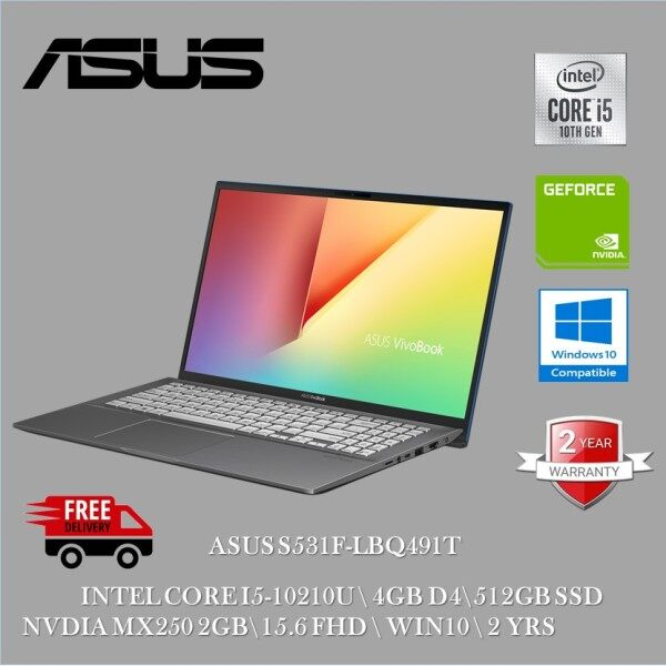 Asus Vivobook S15 S531F-LBQ491T 15.6 FHD Laptop Gun Metal ( I5-10210U, 4GB, 512GB+32GB, MX250 2GB, W10 ) Malaysia