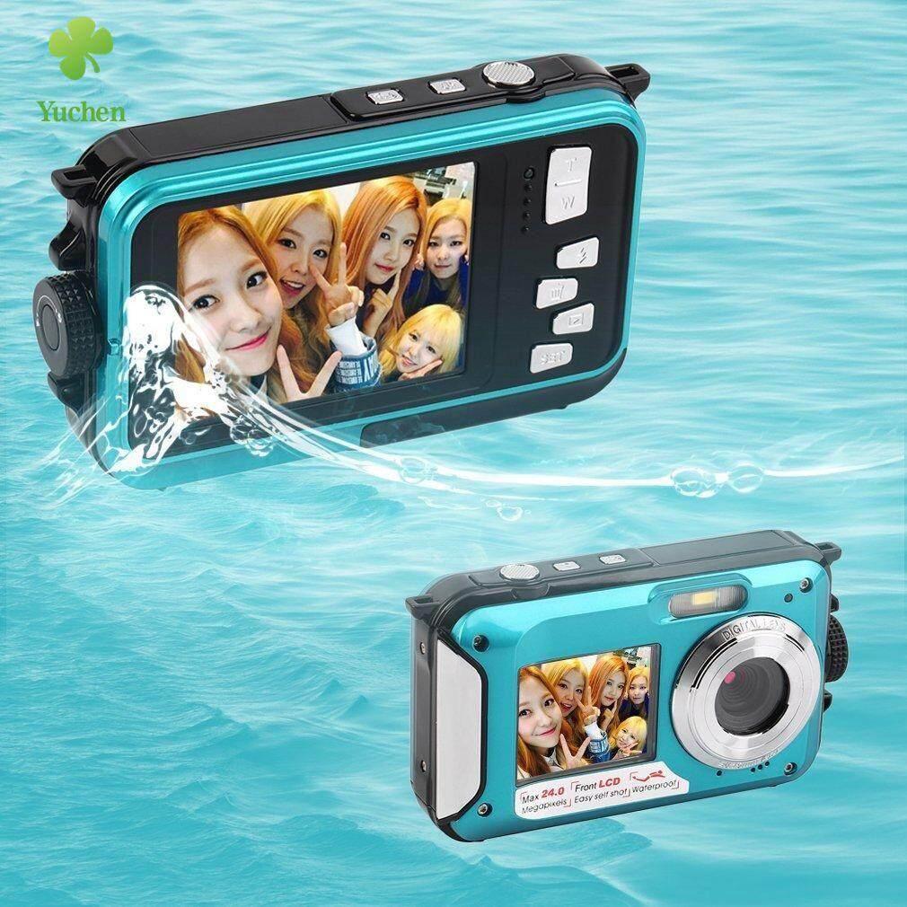Yuchen 1 Pcs Kamera Digital Tahan Air 5mp Max 1080 P Double Screen16x Zoom Camcorder Built-In Mikrofon Pengeras Suara By Yuchen.