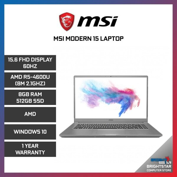 MSI Modern 15 Laptop (15.6 Inch FHD 60Hz / AMD / R5-4600U (8M 2.1GHZ) / 8GB RAM / AMD Graphic / Windows 10 / 1 Year Warranty) Malaysia