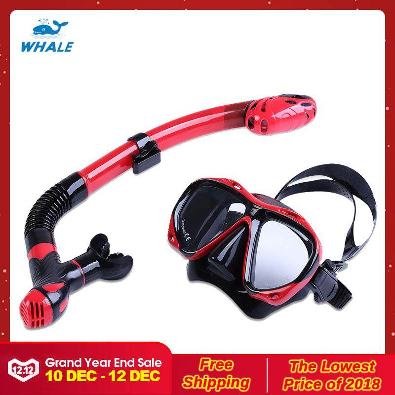 WHALE Professional Diving Training Snorkeling Silicone Mask Snorkel Glasses Set (Red With Black)