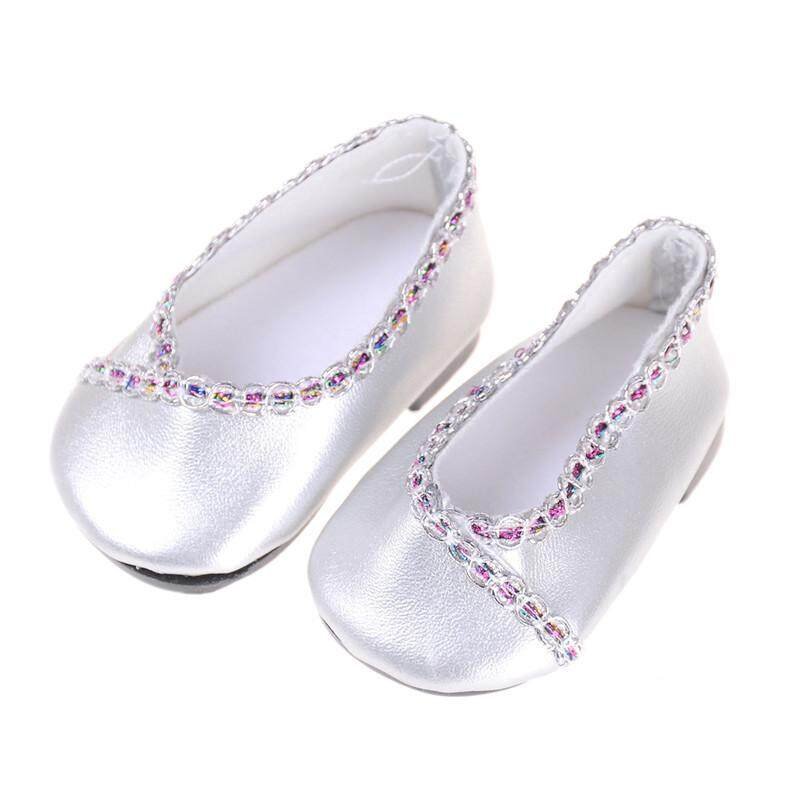 9741c8c68af4 Silver For 18 Inch American Girl Doll Shoes for 43CM Reborn Baby Doll  Sandals
