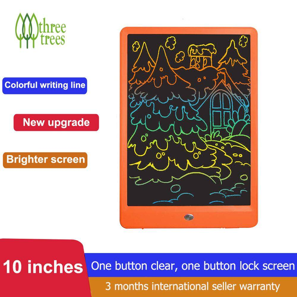 [2019 New Arrival] Threetees 10 inch LCD Writing Tablet Bulit in Colorful Screen Electronic Writing Board Doodle Pads Drawing Board Great Gifts,Suit For Home Office School etc