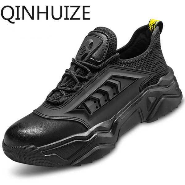 QINHUIZE New safety work shoes mens anti-smashing and anti-piercing steel-toed shoes wear-resistant lightweight soft deodorant work safety boots