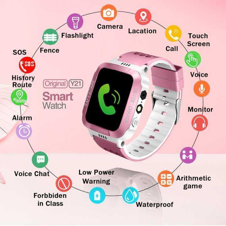 SWAY 《 Asli 》 Y21 GPS Anak Smartwatch dengan Kamera SOS
