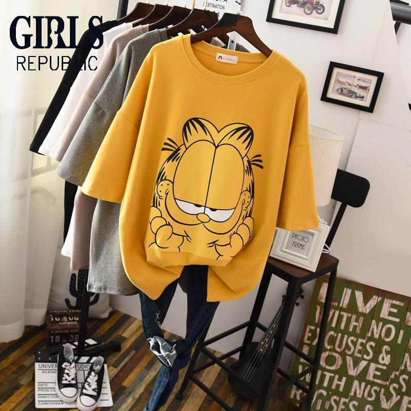 582dc3bfc Girls Republic lowest price Korean half-sleeve female sanding cartoon cat  pattern large size cover