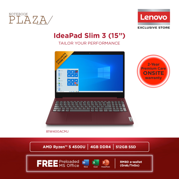 Lenovo IdeaPad 3 15ARE05 81W400ABMJ 15.6 FHD Laptop Cherry Red ( Ryzen 5 4500U, 4GB, 512GB SSD, ATI, W10, HS ) Malaysia