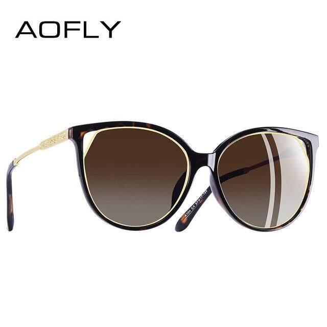 AOFLY marque DESIGN lunettes de soleil yeux de chat femmes polarisées mode lunettes de soleil pour femmes strass Temple lunettes UV400 A104