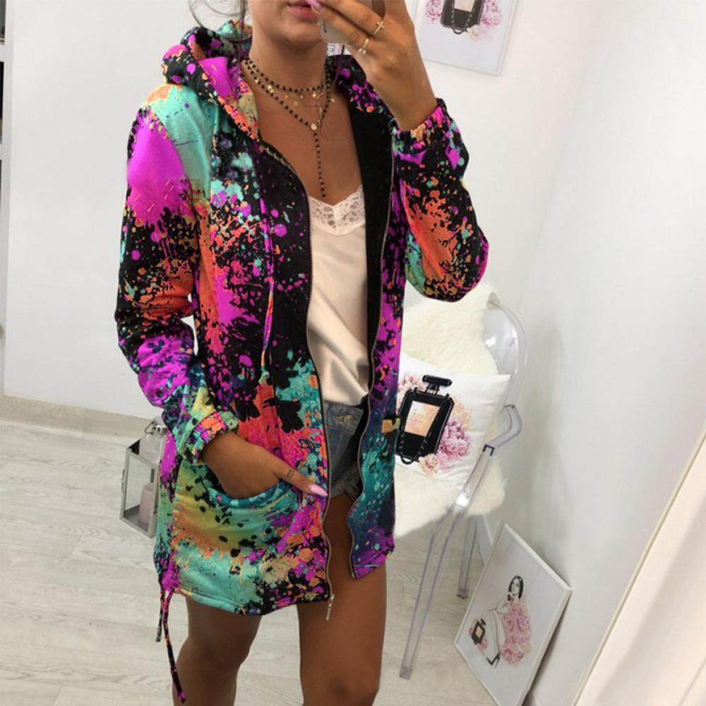 Outerwearamp; Printing Coats Dyeing Hooded Coat Fashion Women Sweatshirt Jackets Outwear Tie And bgvY7yImf6
