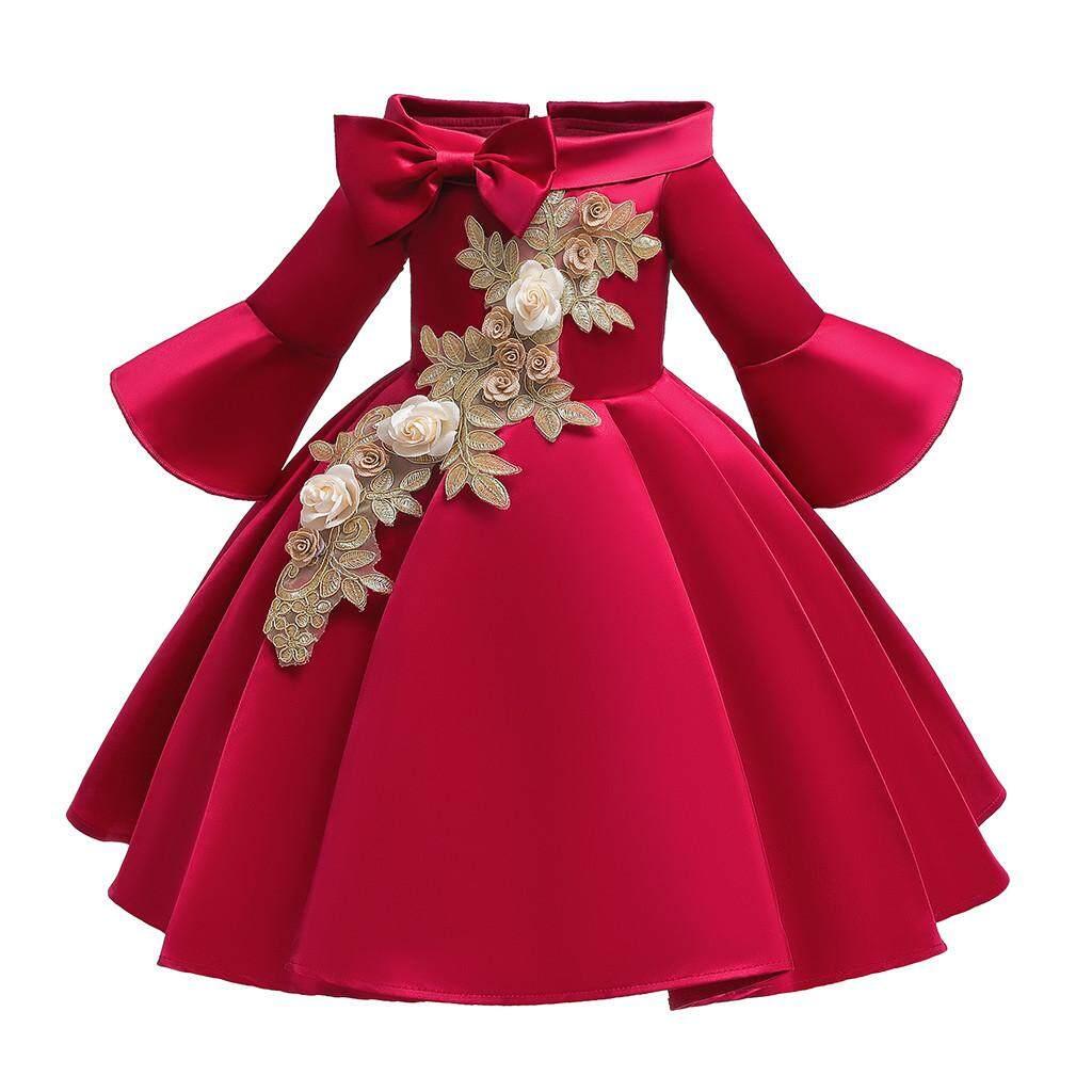 ราคา ดอกไม้เสื้อยืดลายการ์ตูนเด็กเด็กผู้หญิงเจ้าหญิงประกวดเพื่อนเจ้าสาวชุดวันเกิดชุดปาร์ตี้แต่งงาน