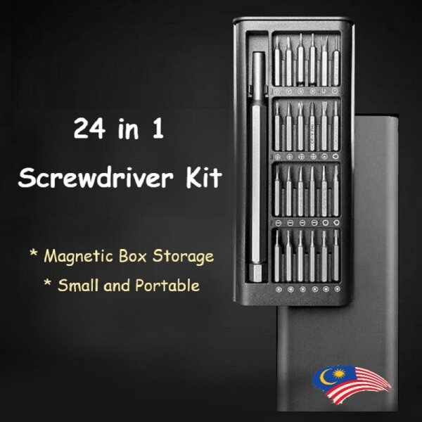 [READY STOCK] Precision Screw Driver Set 24 in 1 Long Screwdriver Bits Magnetic Driver Kit with 25 Bits S2 Steel Material Repair Tool Kit for Smartphone/Tablet/PC 60HRC Magnetic Precision Tool Screw Repair Accessories Set 24合一螺丝套装