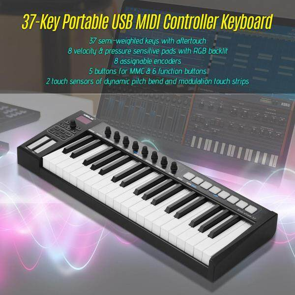 WORLDE Blue whale 37 Portable USB MIDI Controller Keyboard 37 Semi-weighted Keys 8 RGB Backlit Trigger Pads Display with USB Cable Malaysia