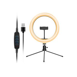 KKmoon Vòng Đèn USB Để Bàn 10 Inch Với 3 Chế Độ Màu 10 Chế Độ Sáng Nguồn Điện Linh Hoạt Đầu Bi Xoay 360 Giá Đỡ Điện Thoại Chân Máy Ba Chân thumbnail