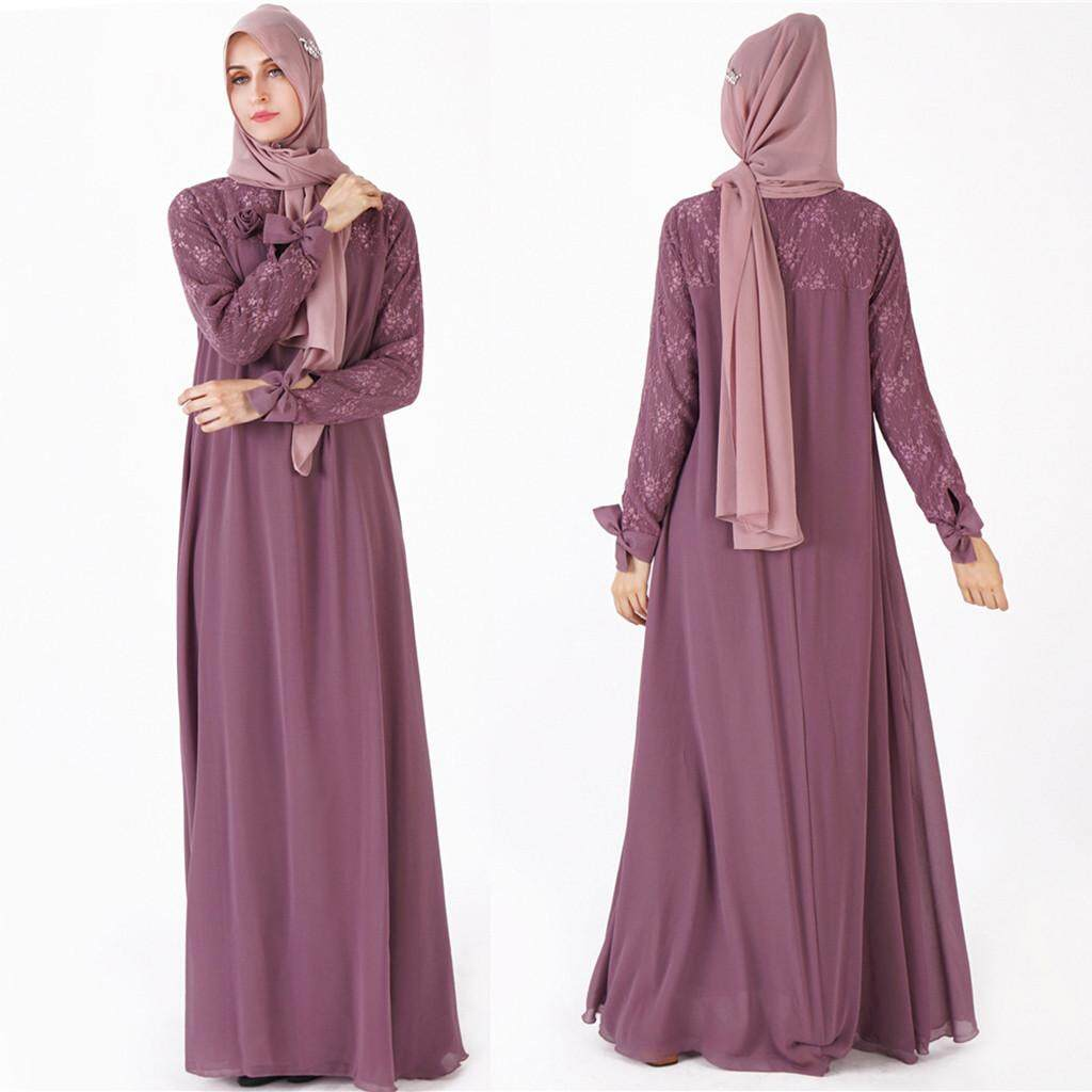 1ea705041faba MMR Muslim Women Kaftan Islamic Maxi Dress Long Sleeve Arab Jilbab Abaya  Clothing