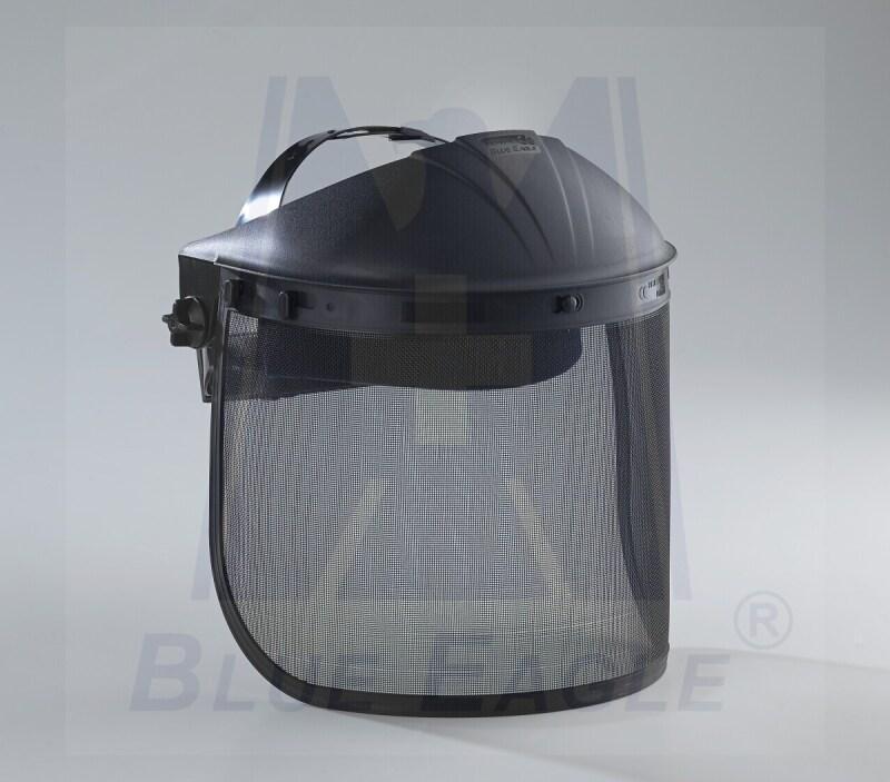 BLUE EAGLE Black ABS Visor Holder / Browguard D1BK + Black Steel Mesh Face Shield Visor, Certified with CE, ANSI
