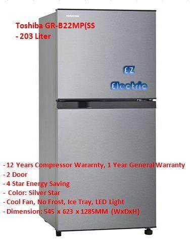 (NEW) Toshiba GRB-22MP(SS) 2 Door Fridge 203L (Silver Star)