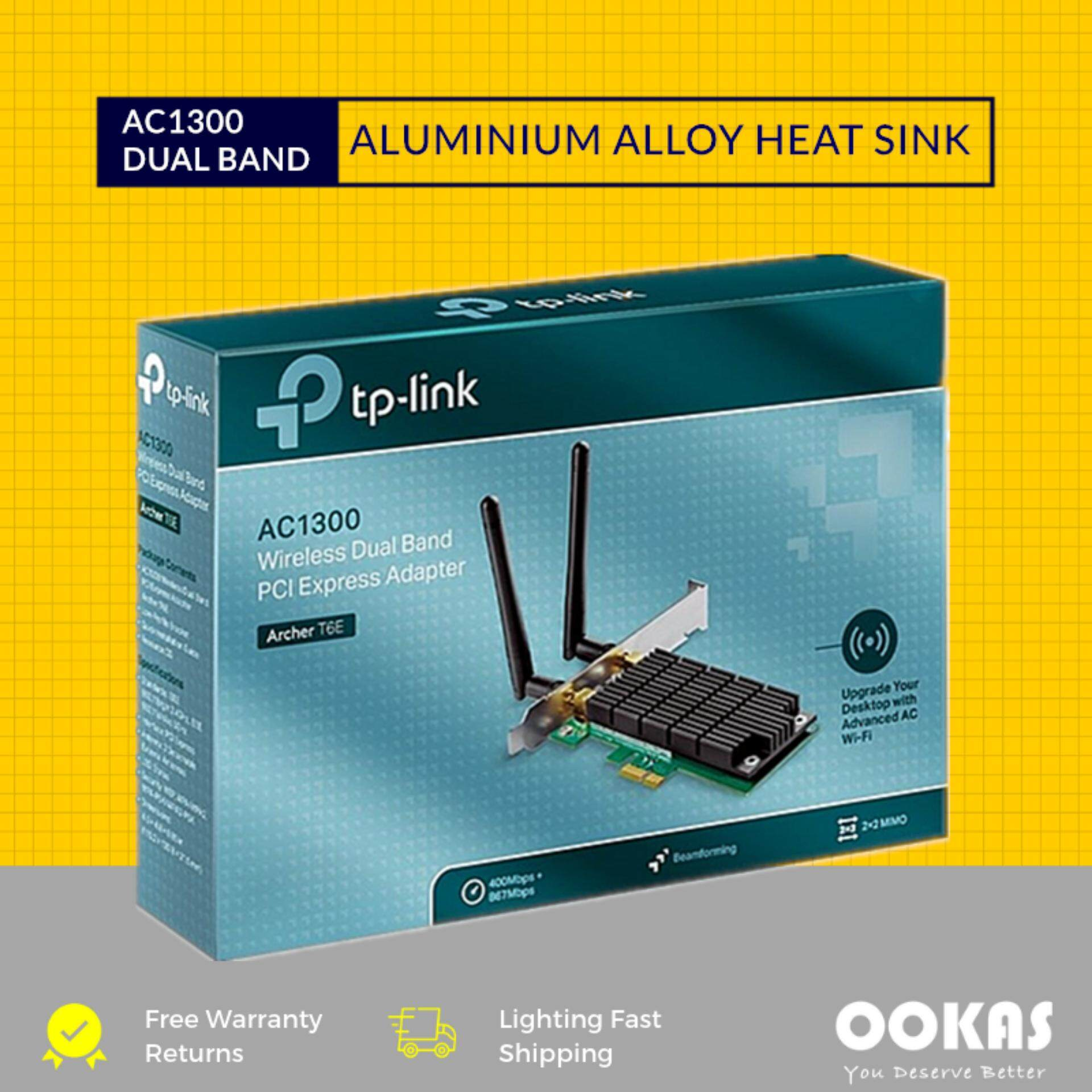 Tp-Link Ac1300 Wireless Dual Band Pci-E Express Adapter Archer T6e By Ookas.