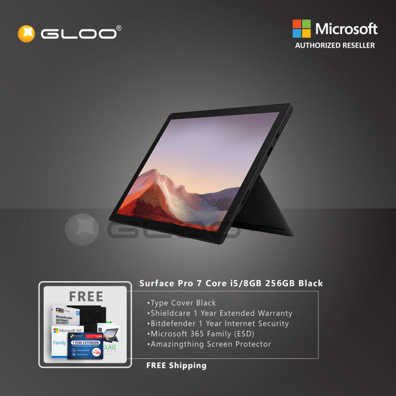 Microsoft Surface Pro 7 Core i5/8G RAM - 256GB Black - PUV-00025 + Surface Pro Type Cover [Choose Color] + Shieldcare 1 Year Extended Warranty + Bitdefender 1 Year Internet Security + Microsoft 365 Family (ESD) + Amazingthing Screen Protector Malaysia