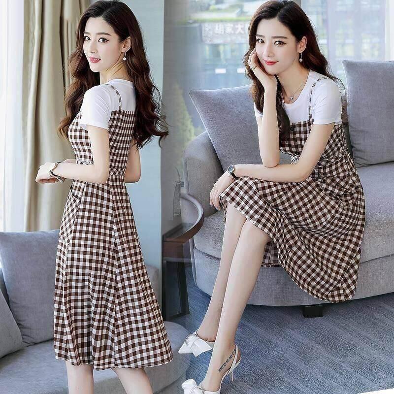 8b2ba55ce7d Cotton T suspender plaid dress female 2019 summer new fake two A-line skirt
