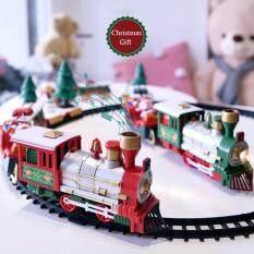 Đồ Chơi Trẻ Em Giáng Sinh Tàu Hỏa Theo Dõi Cổ Điển Xe Lửa Điện Âm Nhạc Nhẹ