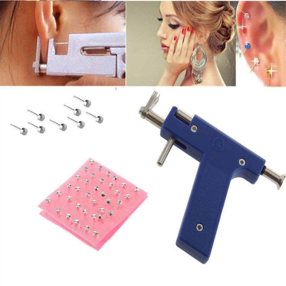 POPO Professional Steel Ear Nose Navel Body Piercing Gun 72pcs Studs Tool Kit Set Philippines