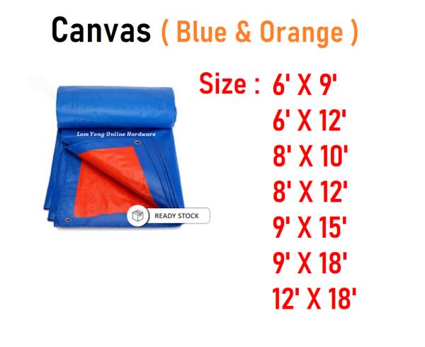 【High Quality】Canvas Blue Orange Waterproof| Kanvas Biru Oren Kanopi Khemah|蓝橙帆布