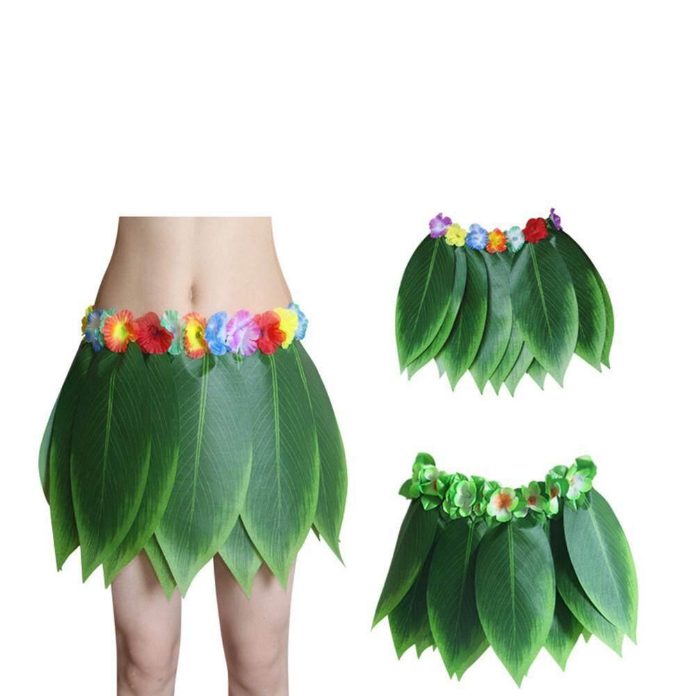 71a77aa8d874 OnLook Hawaiian Leaf Grass Skirt Performance Set,Elastic Ti Leaf Hula Skirt  with Hibiscus Flower