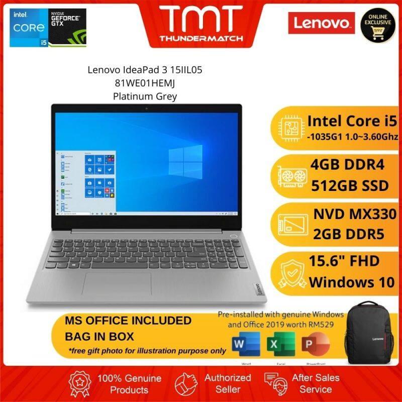 Lenovo IdeaPad 3 15IIL05 81WE01HEMJ Grey Laptop | i5-1035G1 | 4GB RAM 512GB SSD | 15.6 FHD | MX330 | W10 |MS OFFICE+BAG Malaysia