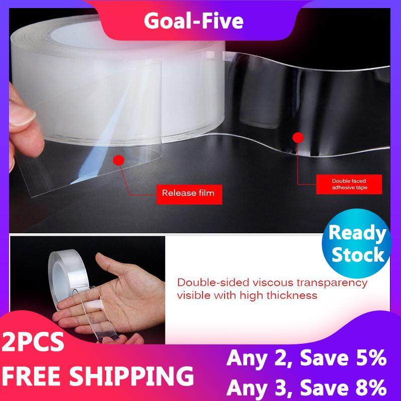 Goal-Five 1 Roll [1mm] [Ready Stock] 2019 New Double-Sided Tape,Seamless Multi-Function Nano Magic Tape - Washable and Reusable Tape for Home Car - WxT(3cm x 1mm)