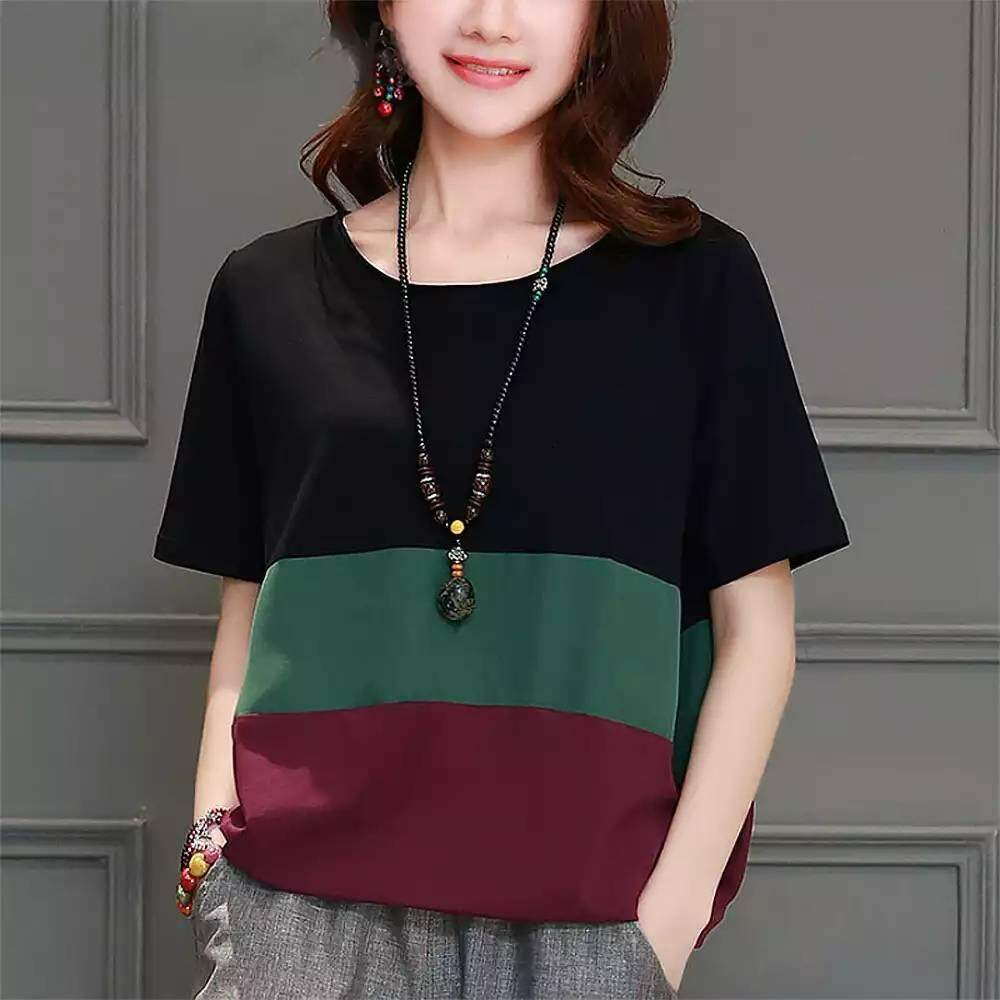 cccbb5ce914f ICHOIX 2019 Loose Plus Size women s new Short sleeve T-shirt Blouse