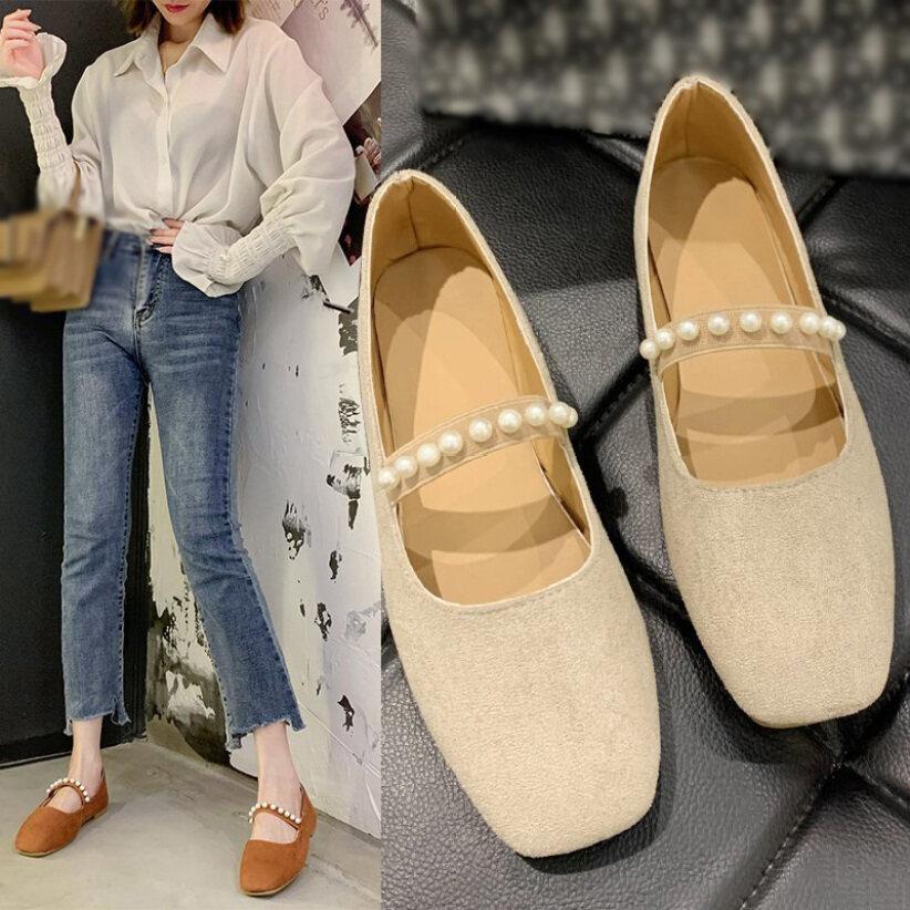 Giày Bệt Nữ Đính Ngọc Trai, Giày Đế Bệt Mary Jane Cổ Điển (Da Lộn) giá rẻ