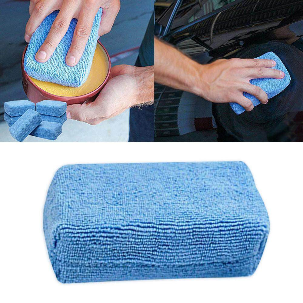 Watson 5pieces Microfiber Car Cleaning Applicators Car Washing Sponge Automobile Cleaning Cloths Car Wax Polishing Pad Car Detailling