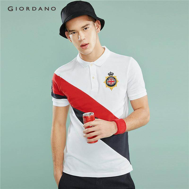 01f7414e Giordano Men Polo Shirts Suit Men Polo T Shirt For Man Embroidery Badge Short  Sleeve Contrast