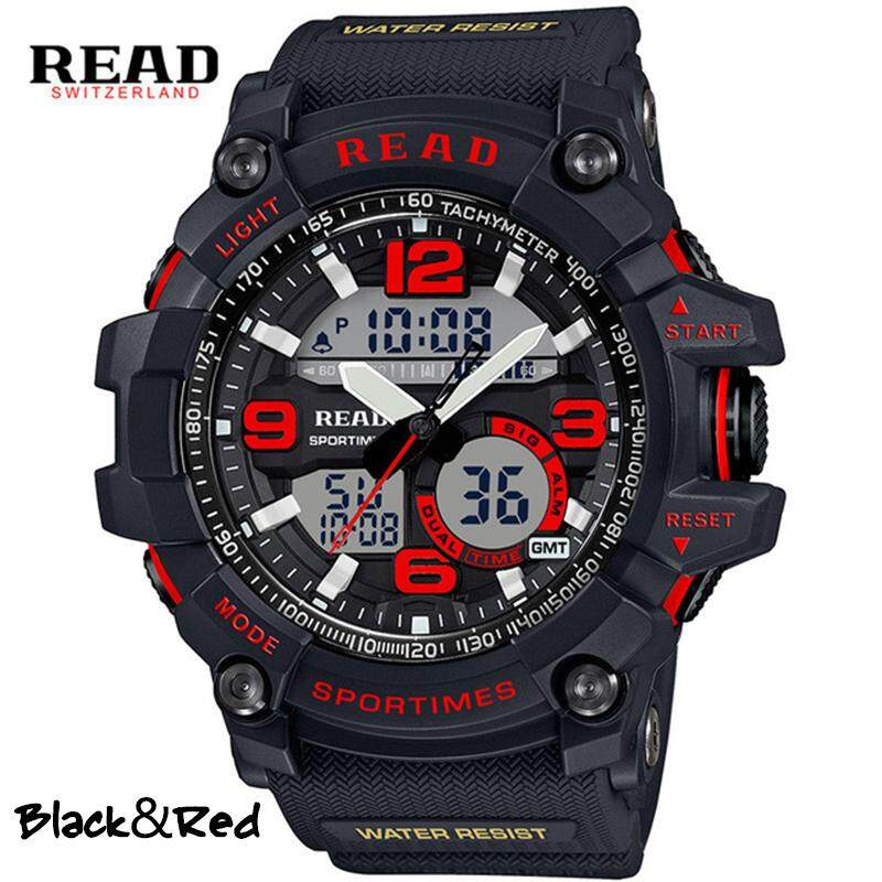 Mens watches top brand luxury Large Dual Dial Analog Digital Watch Casual Sport Watch Multifunction Military Watch with LED Light watch for men