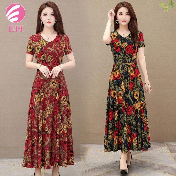 EH.Váy nữ dáng dài hoa in 2021