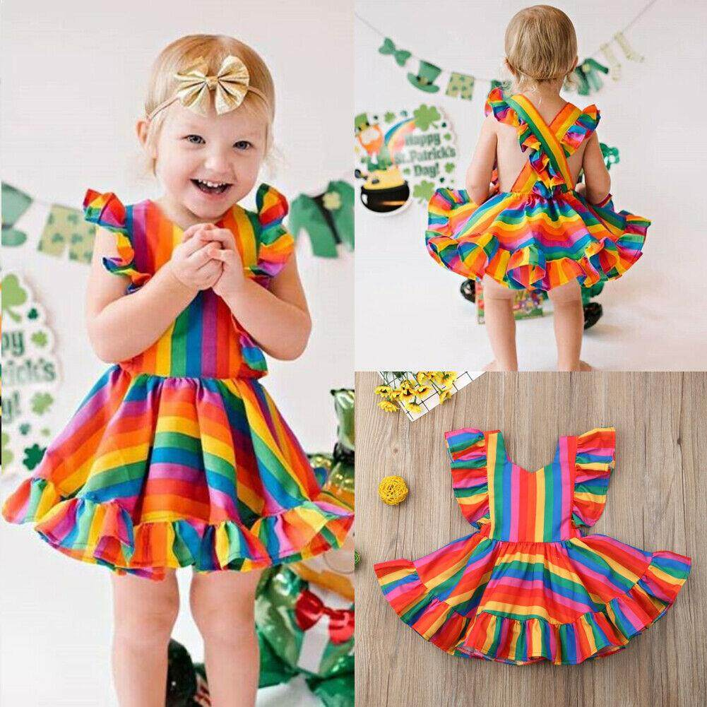 Long Girl/'s Dress Toddlers Rainbow Summer Beachwear Cotton blends Sleeveless