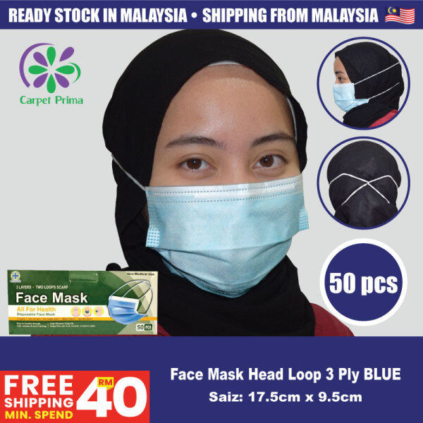 [Carpet Murah Gila] Face Mask Headloop For Hijab Women 3 Layer Anti-virus Protective Cover 3 Layer With Elastic Headloop (Blue,Pink,Yellow,Green,White & Black Colour) 50 pcs