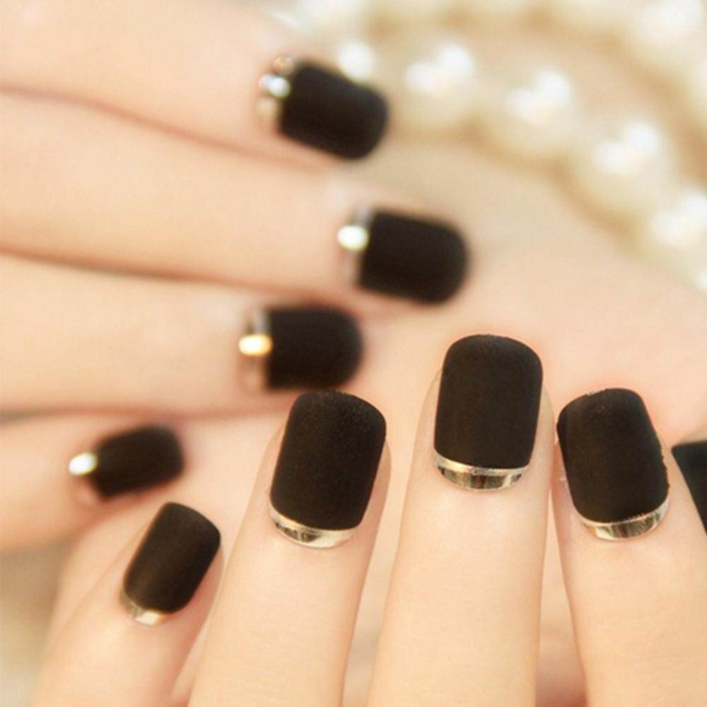 24 PCS of 12 Sizes Matte Full Cover Artificial False Nail Tip Fake Nail Art Tips with Nail Glue Black Gray Philippines