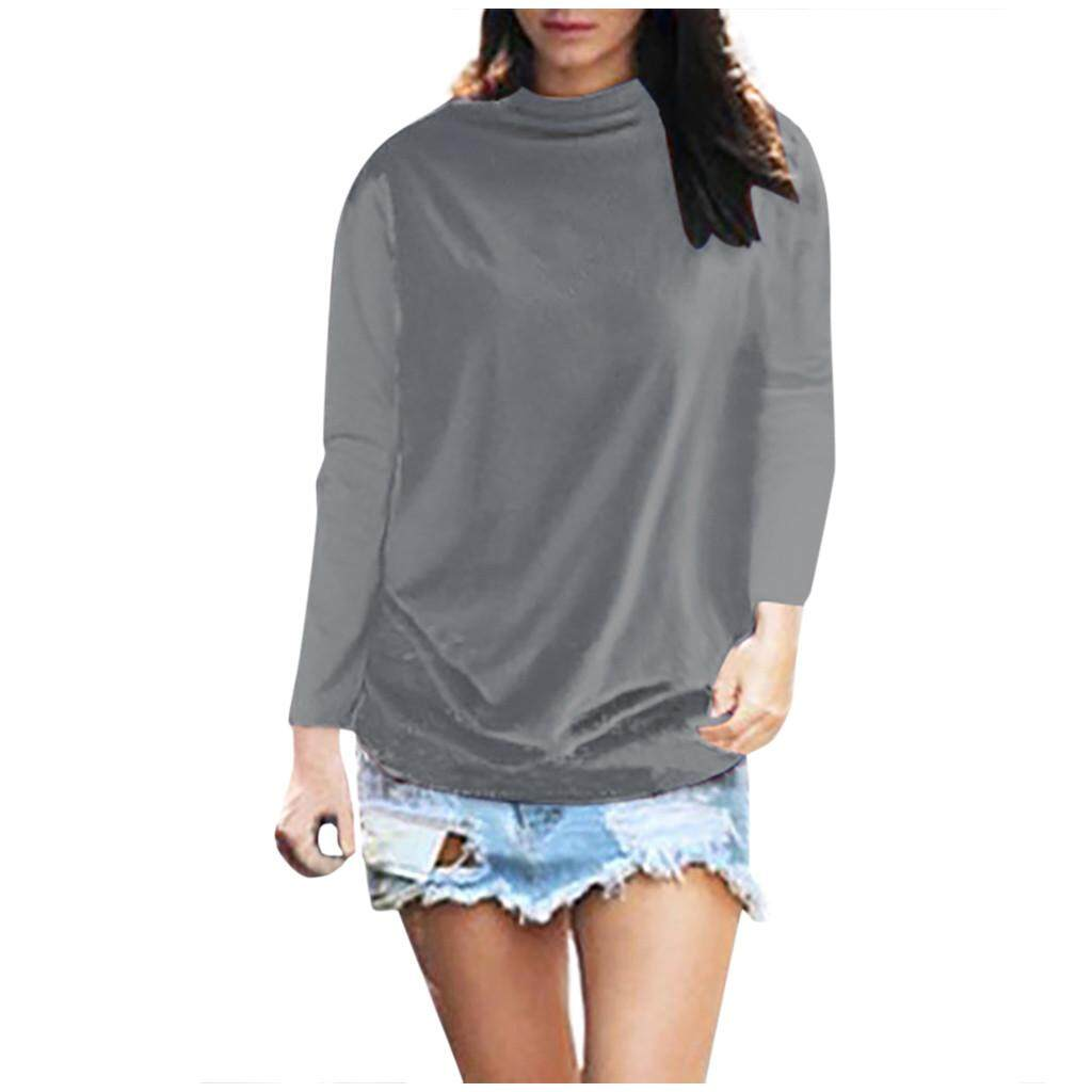 Women/'s Casual Long Sleeve Solid Shirt Turtleneck Blouse Top Pullover Plus Size