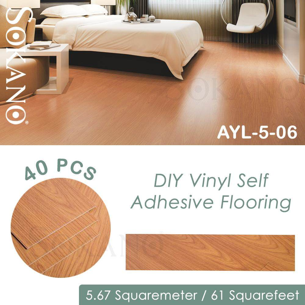 SOKANO DIY Vinyl Self Adhesive Flooring (40 pcs/ 5.67squaremeter/ 61 squarefeet) LANTAI VINY DIY Dengan Gum (No Glue Needed)