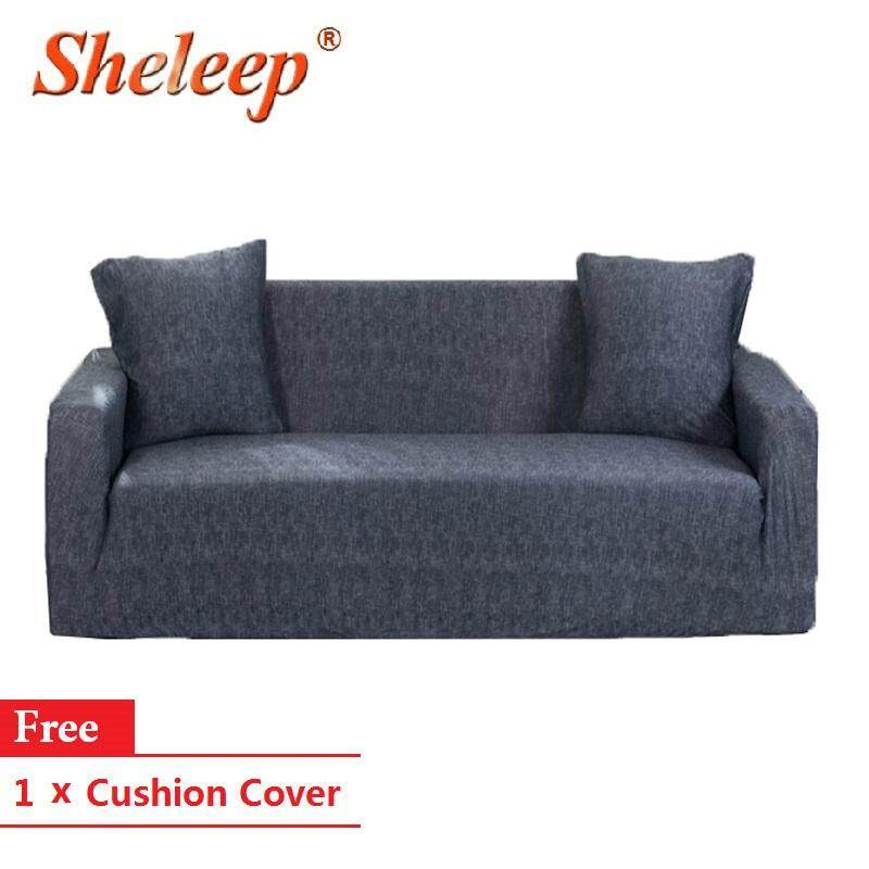 SHELEEP 1/2/3/4 Seater Dark Grey Printed Sofa Cover Stretch Couch Cover Sofa Slipcovers for Chair Loveseats and Couches with 1 Free Cushion Cover